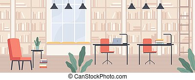 Library. Modern public library interior with bookshelves, ...