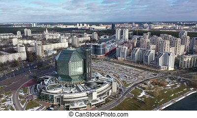 Minsk, Belarus - January 01, 2020: Aerial view of the National Library of Republic of Belarus