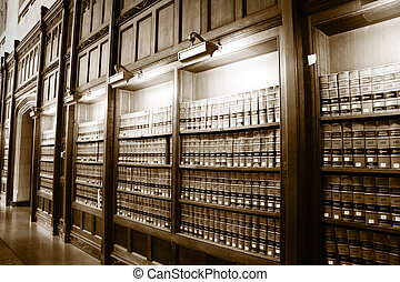 Library of law books - Law book library in sepia color