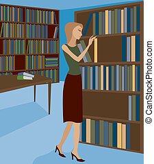 Woman in a bookstore or library, selecting a book from the shelf