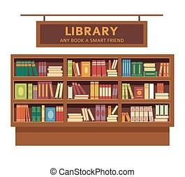 Library promotional poster with big full wooden bookshelf