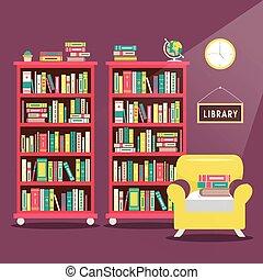 library scene illustration in flat design