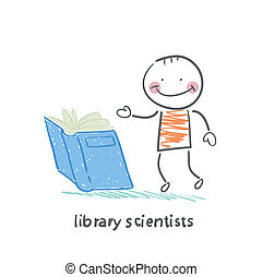 library scientists reading a book