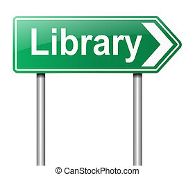 Library sign. - Illustration depicting a sign directing to...