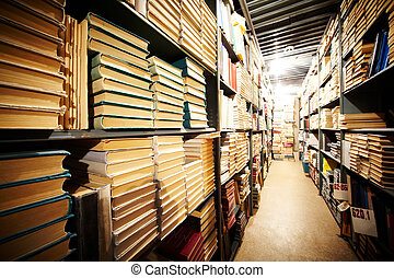 Library stand - Photo of bookshelves of big library in...