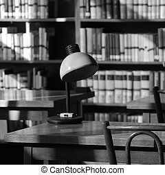 Library still life with retro lamp