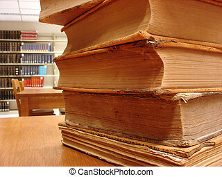 library - stack of books in a library