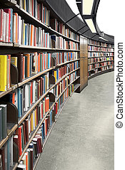 Library - Interior of a library with book shelves