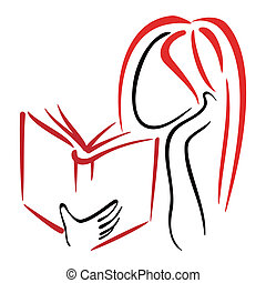 Library symbol - Illustration of women reading a book
