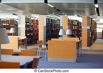 Library - Tables and chairs in an empty library