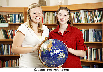 Library Teens with Globe