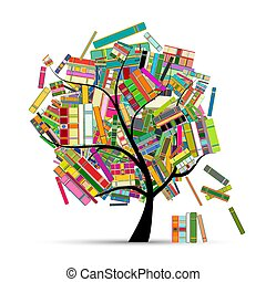 Library tree with books for your design