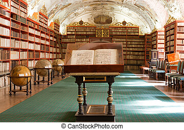 Library with ancient books, old globes, bookshelves,...