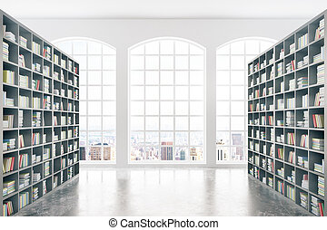 Library with city view