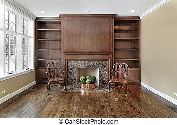Library with fireplace