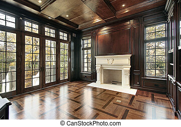 Library with floor design - Library in new construction home...
