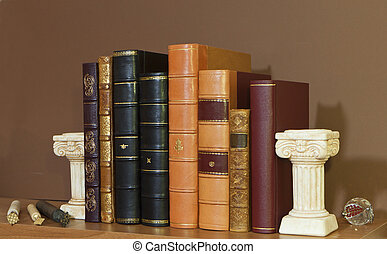 Library with old antique books