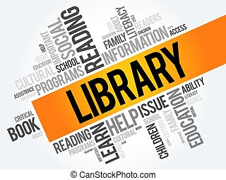 Library word cloud collage