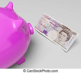 libras, cerdito, exposiciones, efectivo, ahorros, en, londres