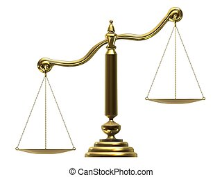 libra/scale  - 3d rendered illustration of a golden scale