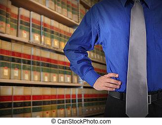 libray, wet, zakenmens , met, vastknopen