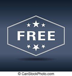 libre, hexagonal, blanco, vendimia, estilo retro, etiqueta