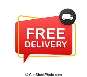 libre, illustrtaion., vector, acción, truck., delivery., insignia