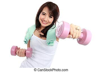 libre-poids, femme, exercisme