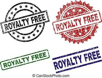 libre, realeza, textured, sellos, sello, dañado