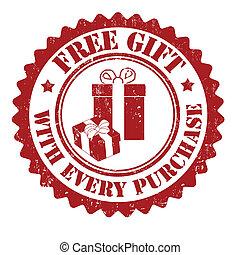 libre, regalo, con, cada, compra, estampilla