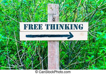 libre, señal, pensamiento, direccional