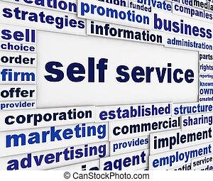 libre-service, slogan, message, fond