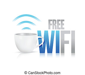 libre, wifi, taza de café, concepto, ilustración, diseño