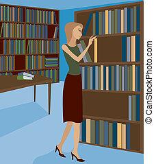 librería, 2, o, biblioteca