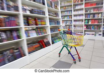 librería, allí, carrito, brillante, libros, interior., ...