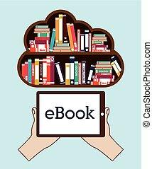 librería, vector, ilustración, en línea