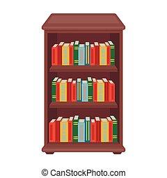 Fondo., libreria, biblioteca, cartone animato, illustrazione ...