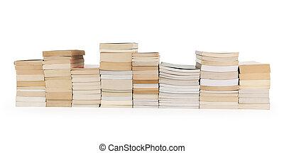 libri, accatastare, fila