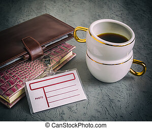 libri, affari, caffè