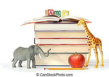 libri, animali giocattolo, pila