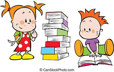 libri, bambini, mucchio