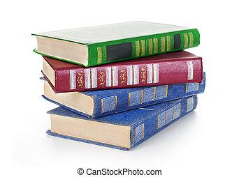 libri, bianco, isolato, mucchio