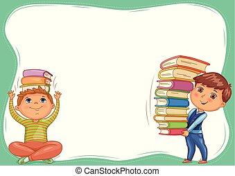 libri, carino, bambini, bandiera, vuoto
