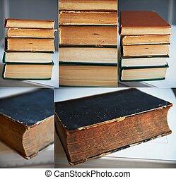 libri, collage, vecchio, pila, struttura