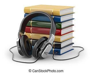 libri, concept., cuffie, audiobook