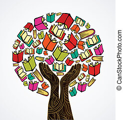 libri, concetto, albero, disegno