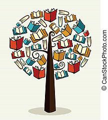 libri, concetto, albero