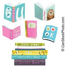 libri, disegno, collezione, clipart