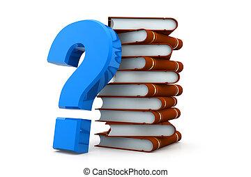 libri, domanda, pila, marchio