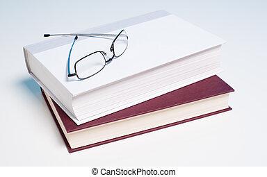 libri, e, occhiali per leggere, bianco